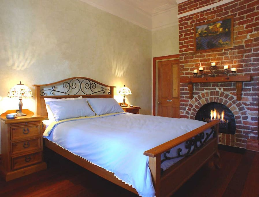 Cool and air-conditioned in Summer and romantic with gas log fireplace in Winter this room has it all.  Child and Pet friendly too.