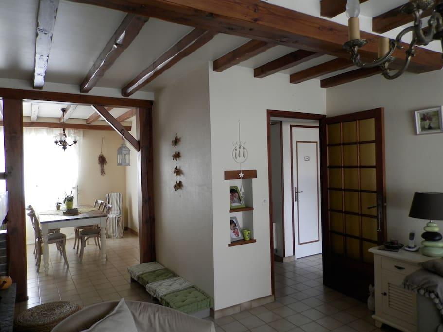 Grande pièce à vivre salle et salon cheminée