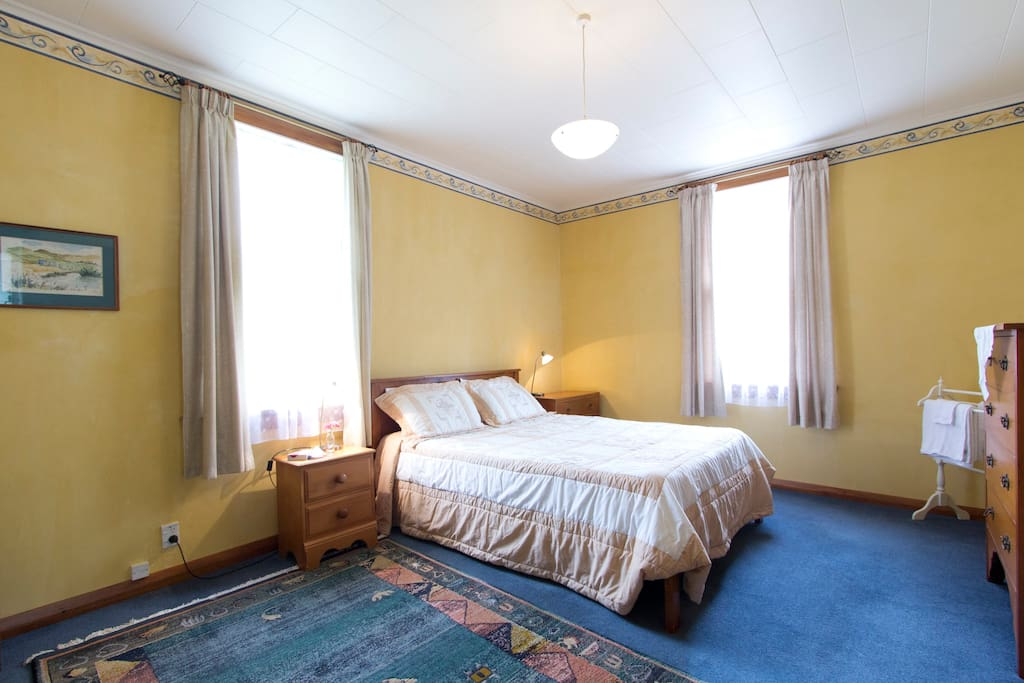 The spacious Yellow Room with rural views.