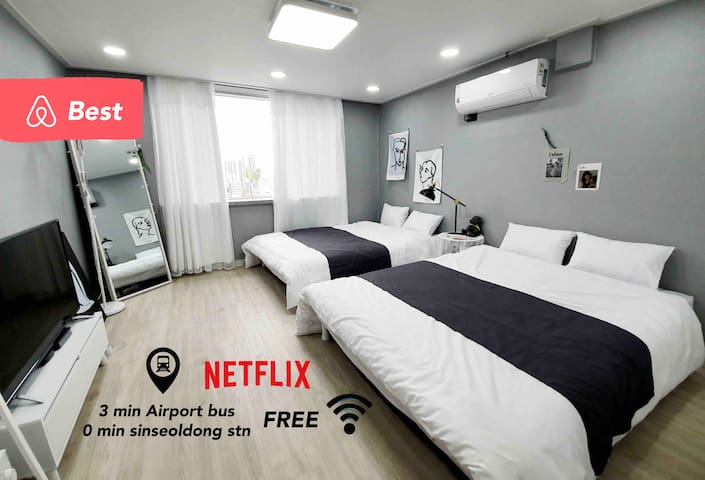 소독disinfection❤️1min from stn❤️ 3Beds NETFLIX studio