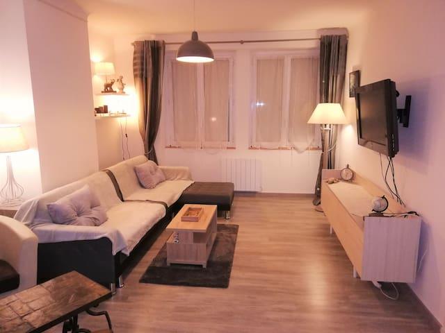 SALON TV   ET LECTEUR DVD 30m2 1er etage avec canapé lit +  à disposition lit bébé+ chaise haute pour repas bébé+ e aspirateur
