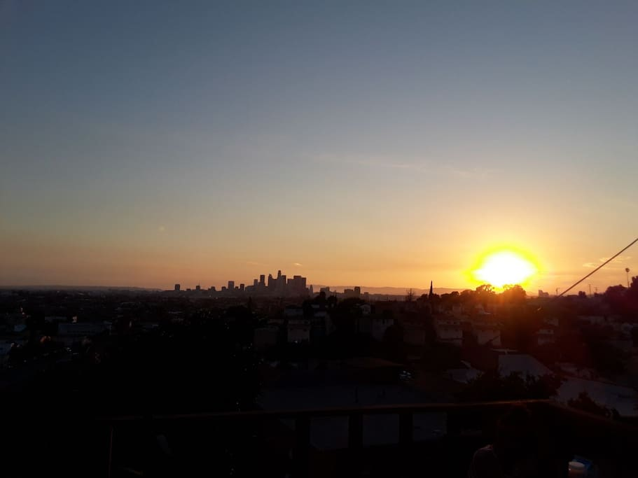 Sunset looking at downtown LA