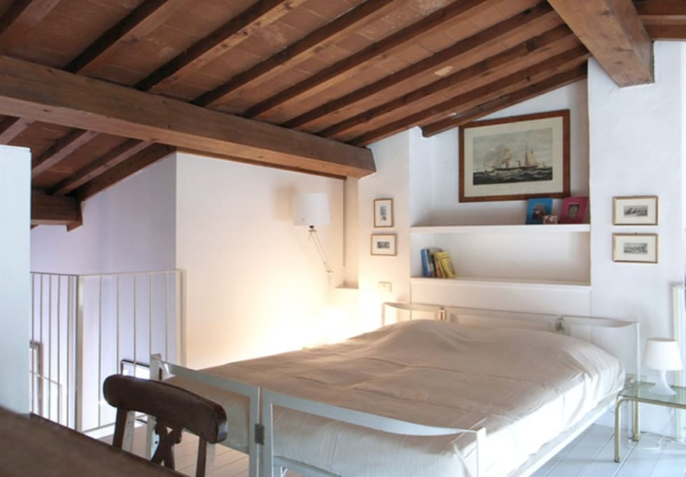 Double bed in the sleeping loft