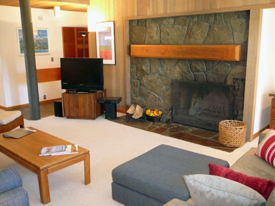 A flatscreen TV, perfect for movie night in front of a crackling fire