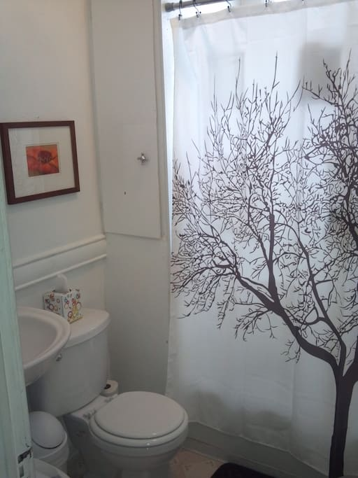 Shared bathroom with full-size tub