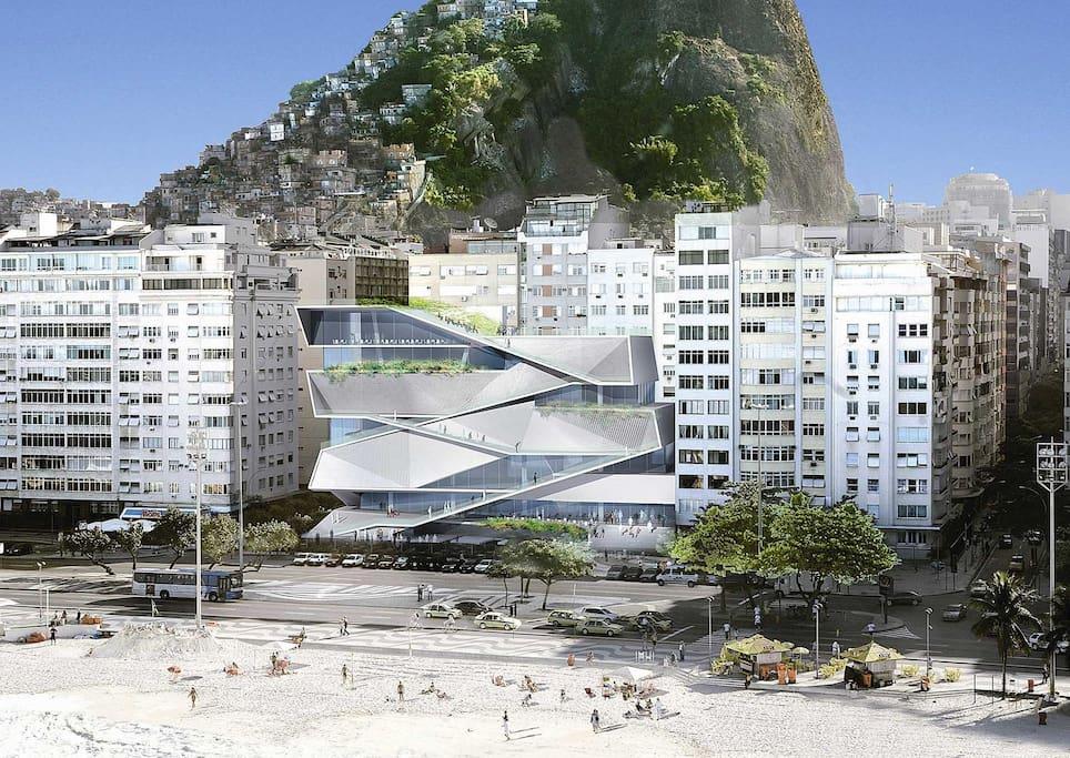 Our next door neighbor is MIS - the Museu da Imagem e do Som (The Museum of Image and Sound) - a landmark in Rio de Janeiro, along with Copacabana.