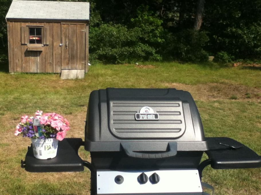 Gas Grill with shed for storing beach chairs and toys