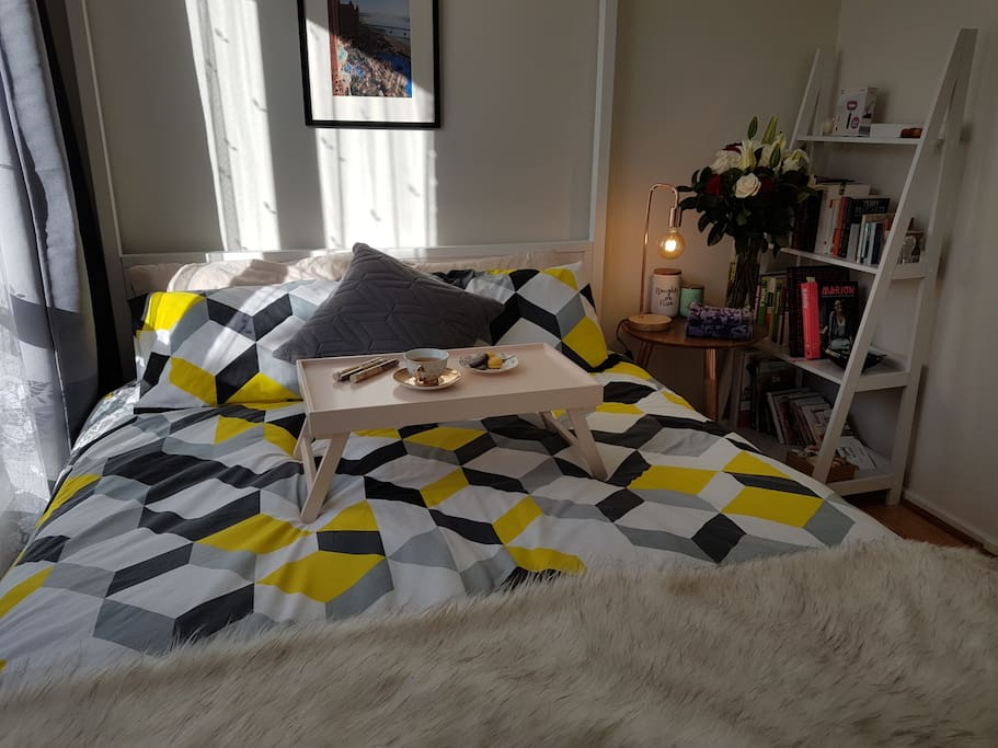 Enjoy a private room with a comfy queen bed