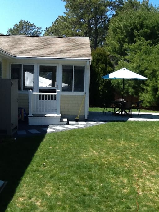 Stone Paver Patio with Gas Grill