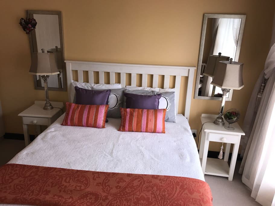 The double bed in the room available.