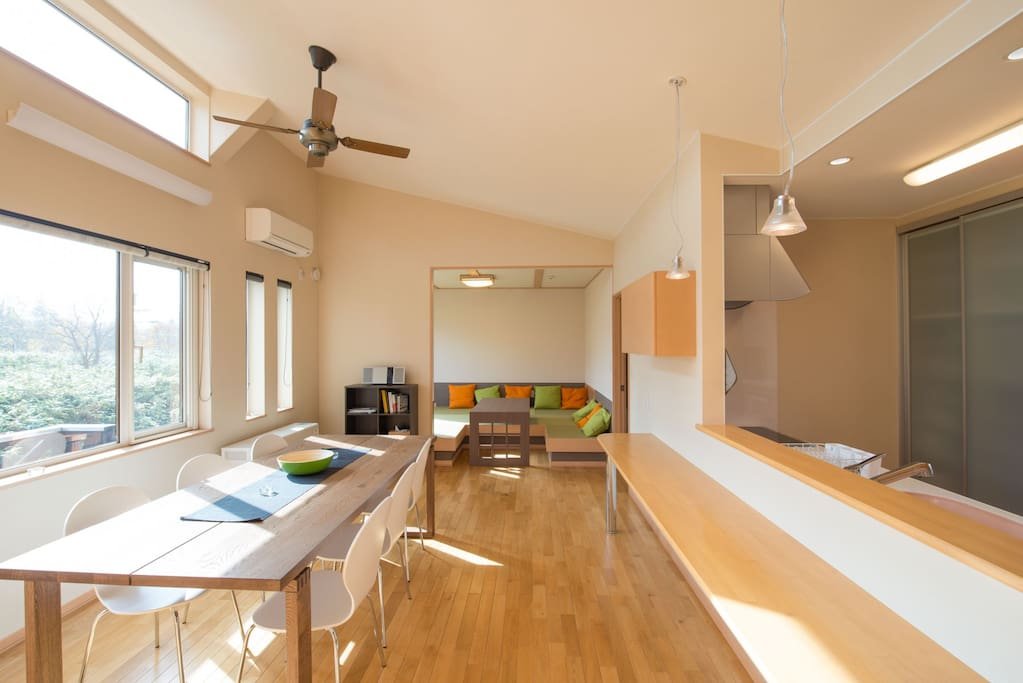 Open plan living, kitchen and tatami room
