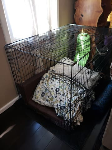 Doggie kennel in living room WITHOUT door. Please  bring your own bedding.