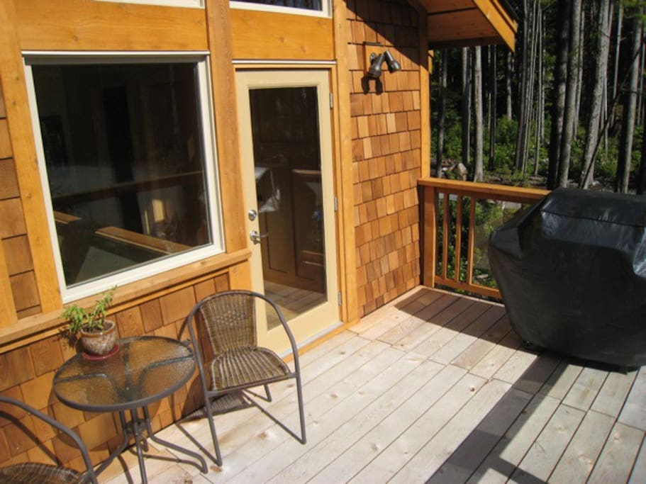 Sunny spacious deck with BBQ