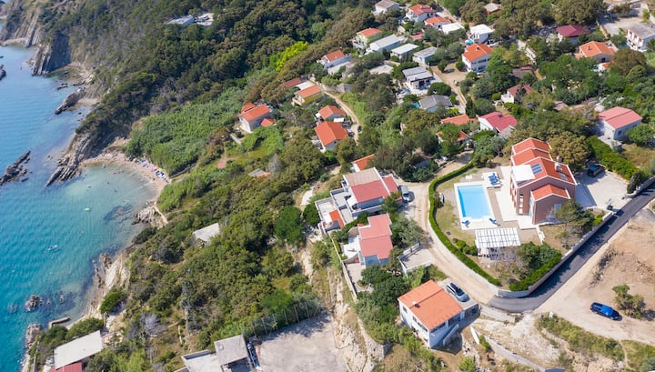 Luxury Seafront Villa Exclusive Pag with private pool by the beach on Pag island