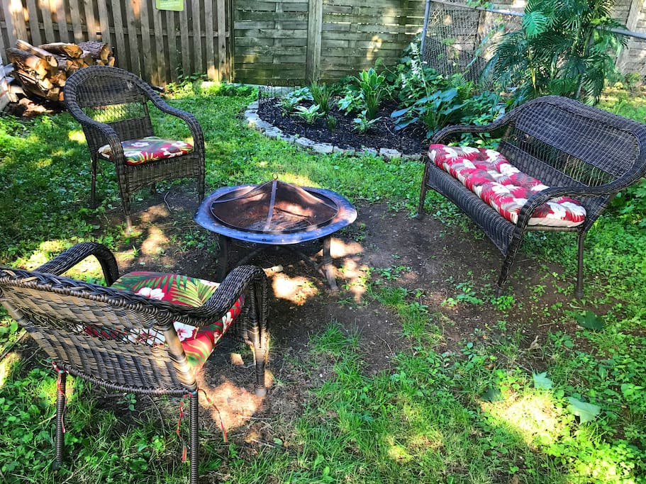 Private outdoor space with fire pit and plenty of camp wood