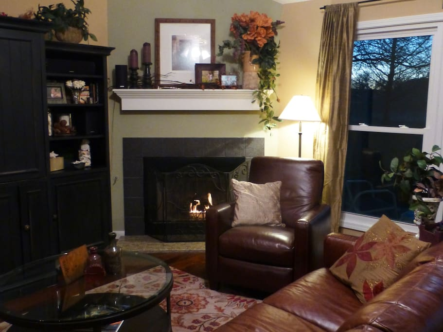Main living area. Stereo, Fireplace. Windows and doors look out at  huge back yard.