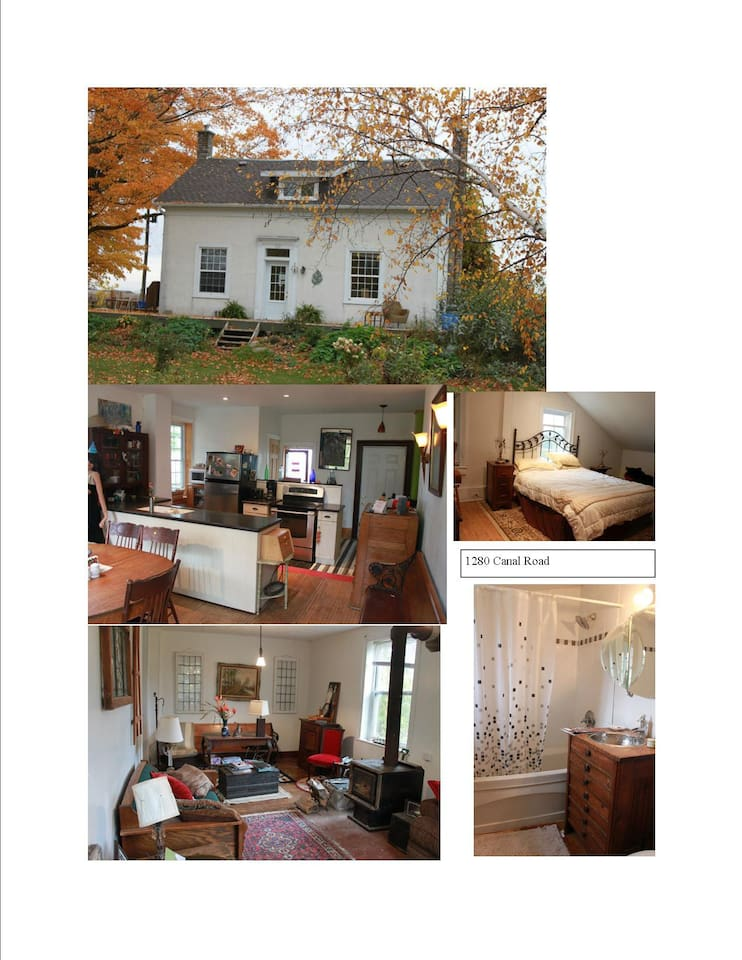 Charming Canal Road farmhouse featuring original floors and modern bathrooms/kitchen.