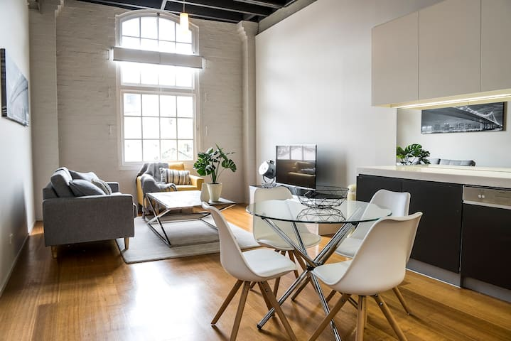 Central and Chic Loft Style One Bedroom Apartment