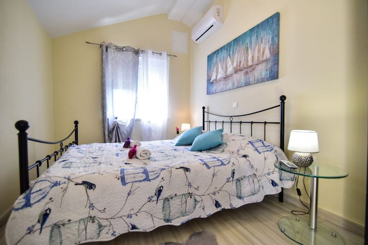 Comfortable bedroom, one room apartman with balcony on the first floor.