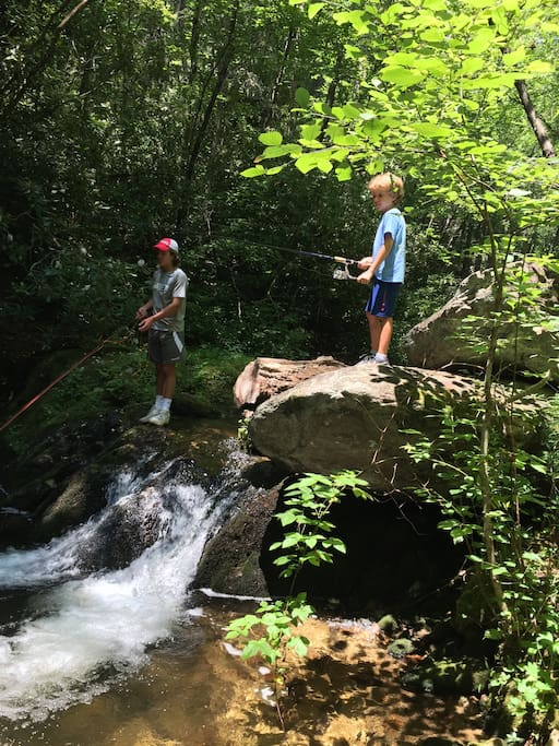 All ages can enjoy a mountain stream and a fishing rod!