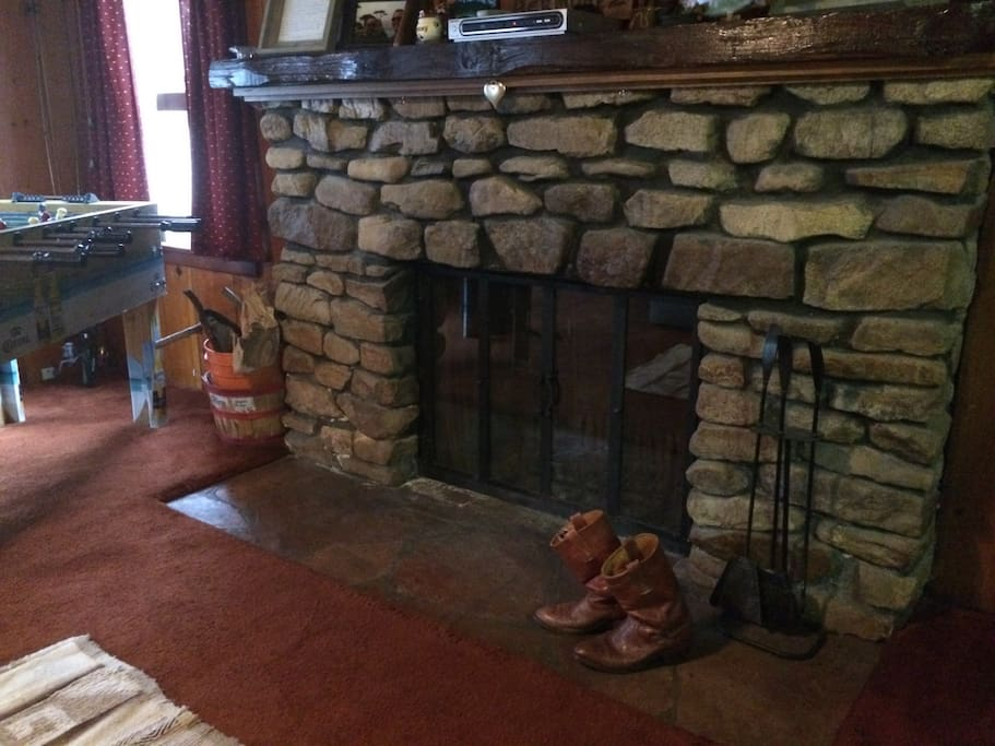 The beautiful rock fireplace.