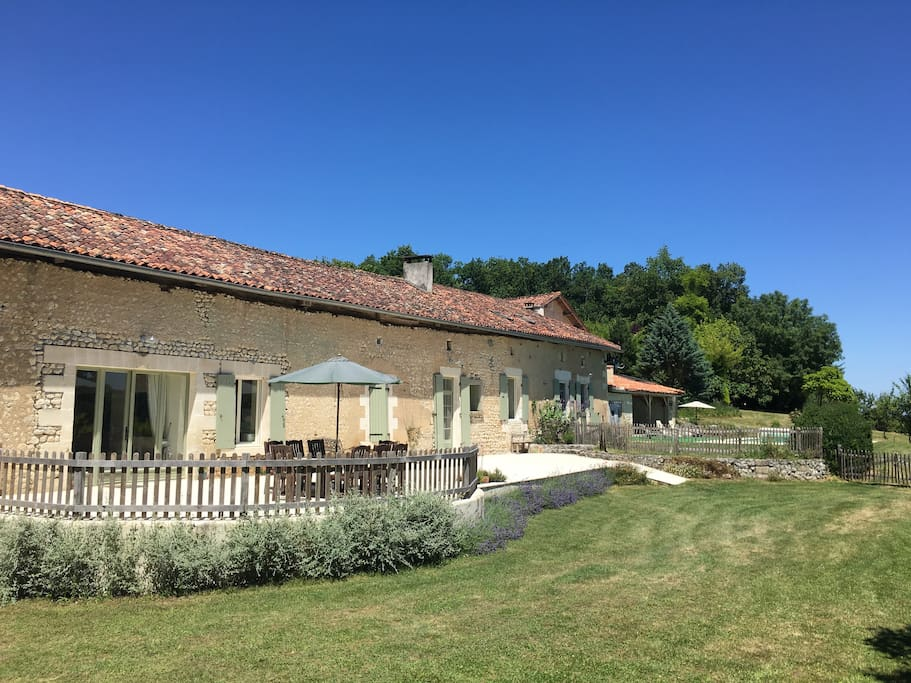 lovely 200 year old French 'longere' farmhouse with terrace overlooking the valley