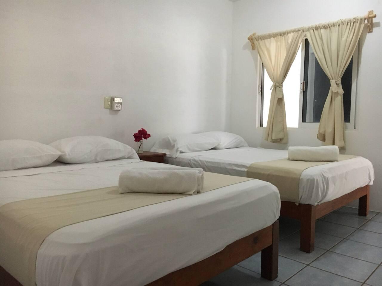 Habitación #11, dos camas matrimoniales ,máximo  para 4 personas .