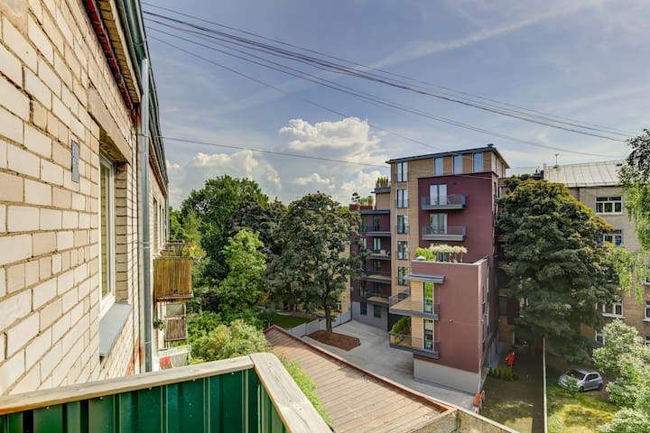 Green balcony view by Arena Riga