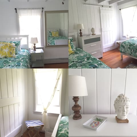 All new bedroom with 2 Twin Beds, large closet, dresser, ceiling fan - super cozy and chic!