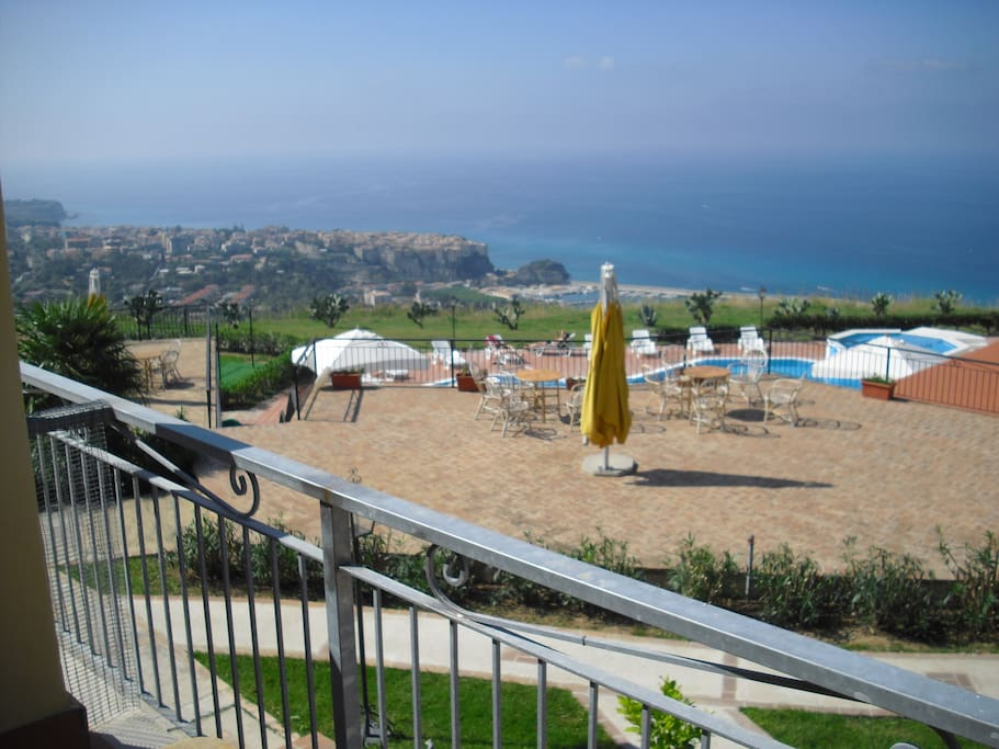 View from apartment out to sea and over Tropea
