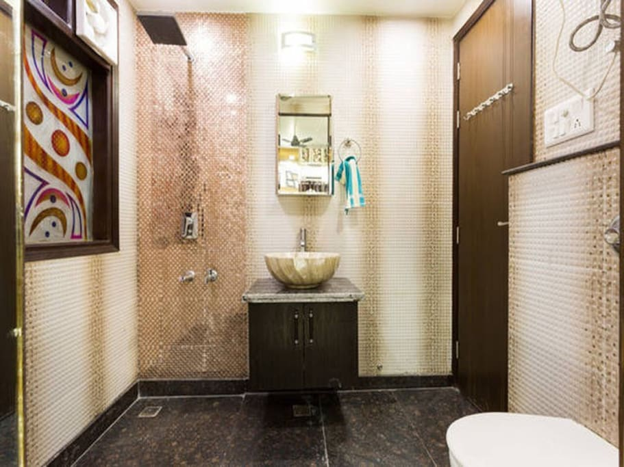 Common Bathroom with walkin rain shower, sink and toilet