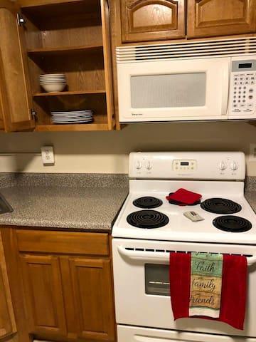Kitchen with essentials.