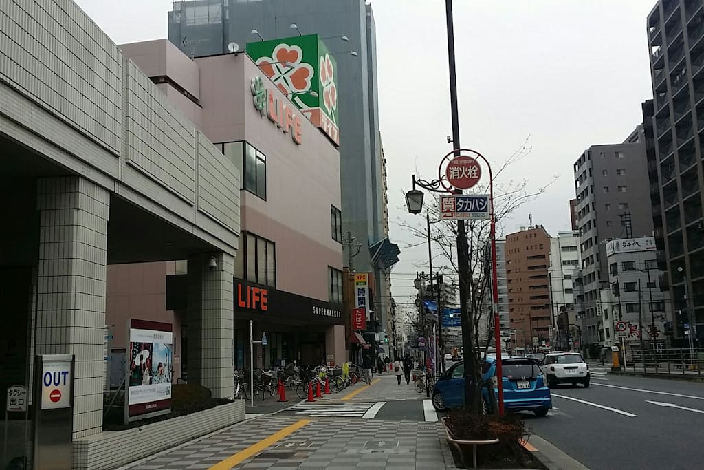 There is Asakusa view hotel and the supermarket Life