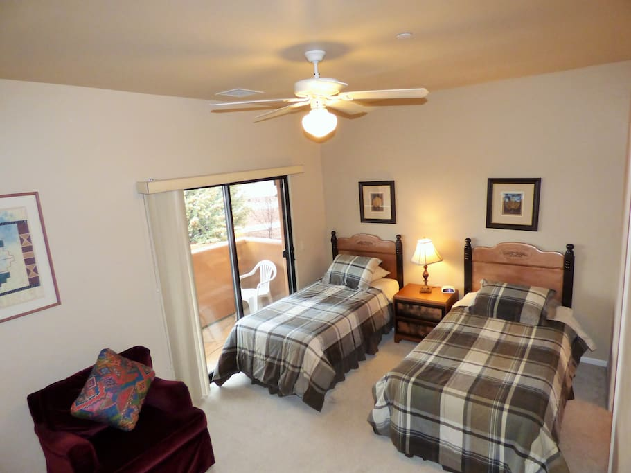 Front Bedroom has 2 twin beds that can be pushed together to make a king.
