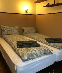 Twin beds in a private room with a hot tub access - Ólafsfjörður - 獨棟