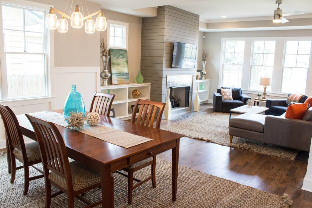 Dining and living area are open to each other, making it a great space for parties and entertaining.