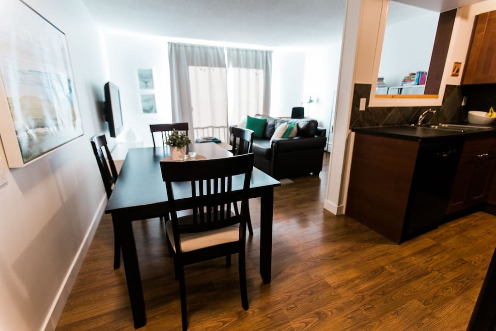 "Dining area, living room and kitchen.  ""The apartment was clean and beautifully decorated. Great location with a nice homely feel!"" - Jennie"