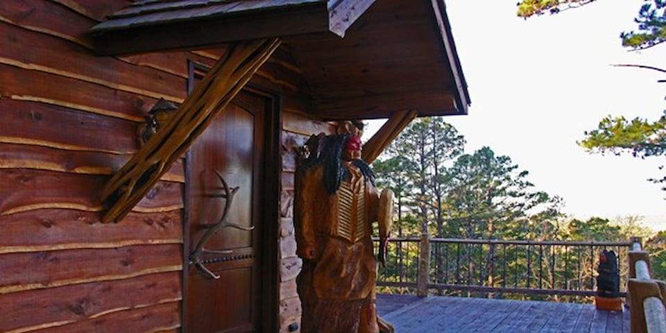 Large wrap around porch with an amazing view of the Kiamichi