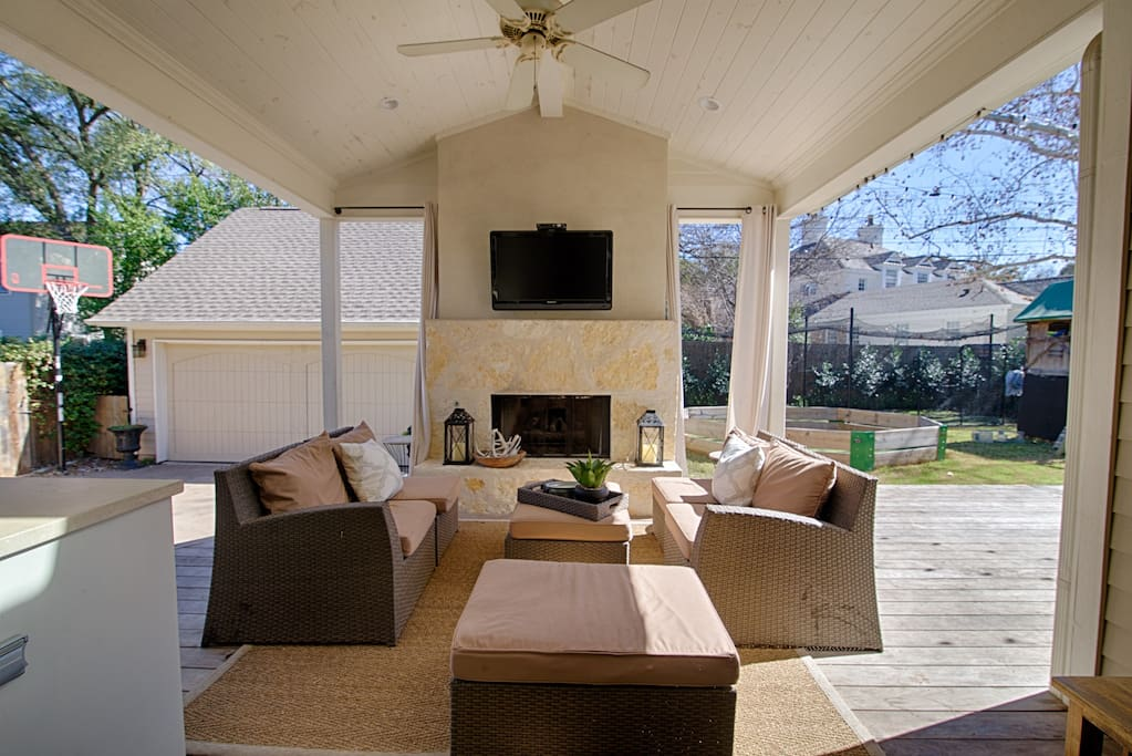 Take in the warm Texas spring from this back patio.