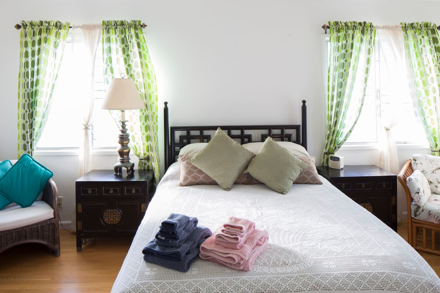 Spacious Master bedroom with a queen size bed and twin size bed