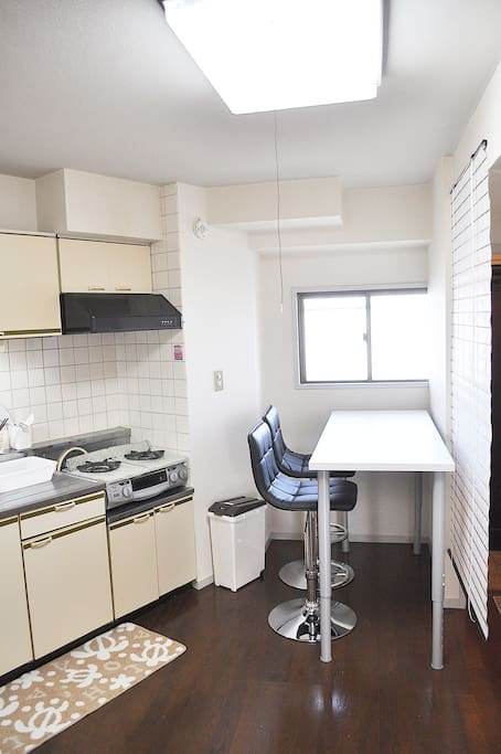 Fully equipped Kitchen and bright Living area