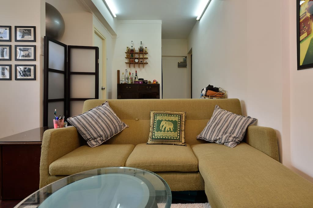 Living room with retro L-shaped couch
