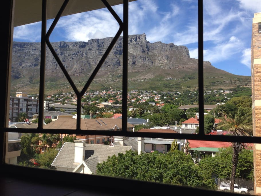 Table Mountain - View from Kitchen window, bathroom and front door