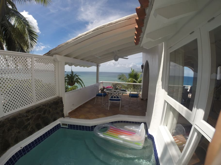 Our favourite spot! Private plunge pool with covered dining area.