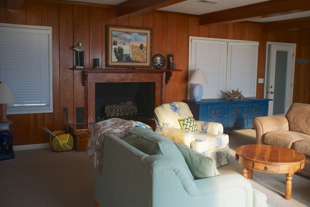 Comfortable seating and beautiful wood paneling.
