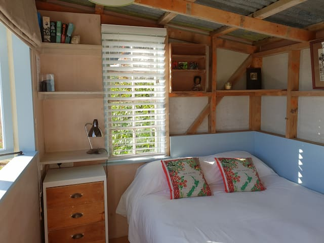 The tiny house is a great place to curl up for a 'siesta' with a leisurely cup of tea and a good book.