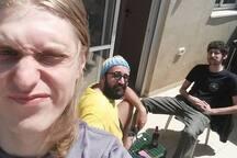us sitting in HUGE porch (BBQ FRIENDLY)