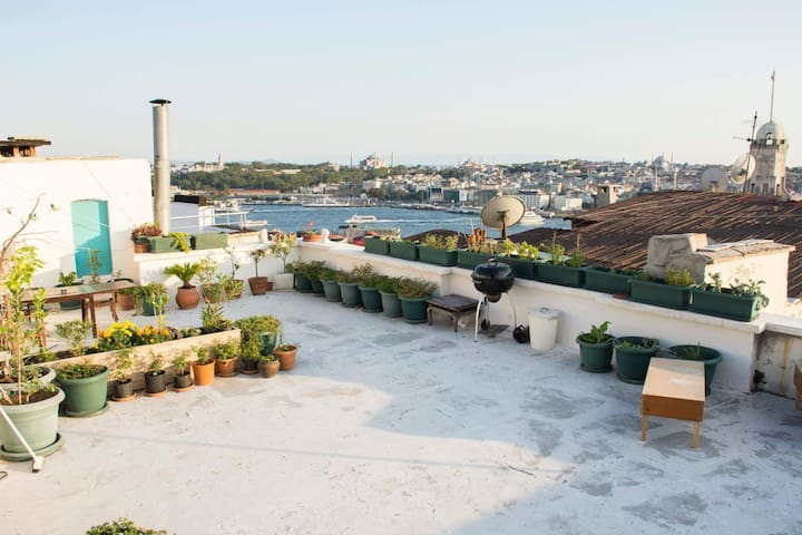 Terrace overlooking  Bosphorus in old Town