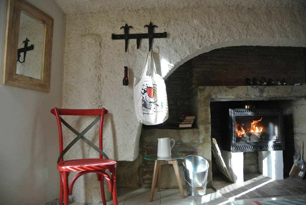 Woodstove for warmth and a romantic ambience.
