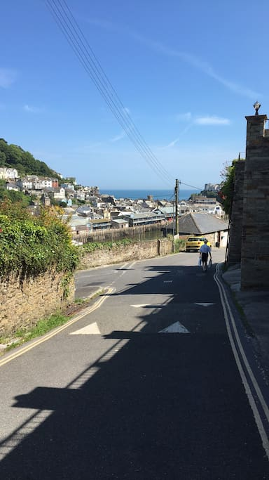 This is the view walking down the hill from our home towards West Looe square.